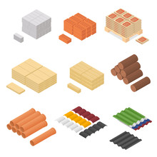 Construction Material Isometric View. Vector