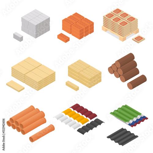 Valokuva  Construction Material Isometric View. Vector