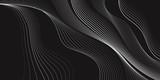 Czarno-białe tło, fale linii, streszczenie tapeta, projekt wektor - 132943420