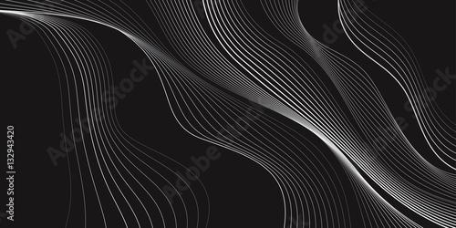 Fototapeta Black and white background, waves of lines, abstract wallpaper, vector design  obraz na płótnie