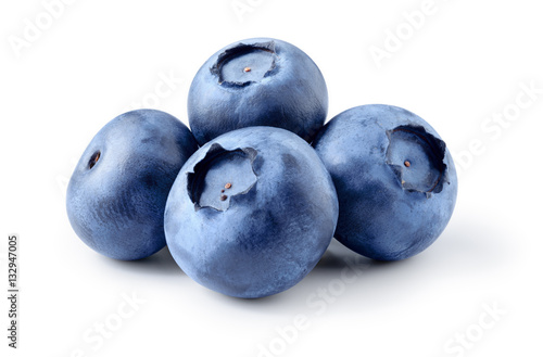 Blueberry. Fresh berries isolated on white background. Poster Mural XXL