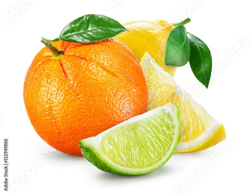 Citrus Fruit. Composition with leaves isolated on white backgrou Fototapete