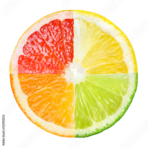 Citrus fruit. Collage of orange, lemon, lime, grapefruit slices Wallpaper Mural