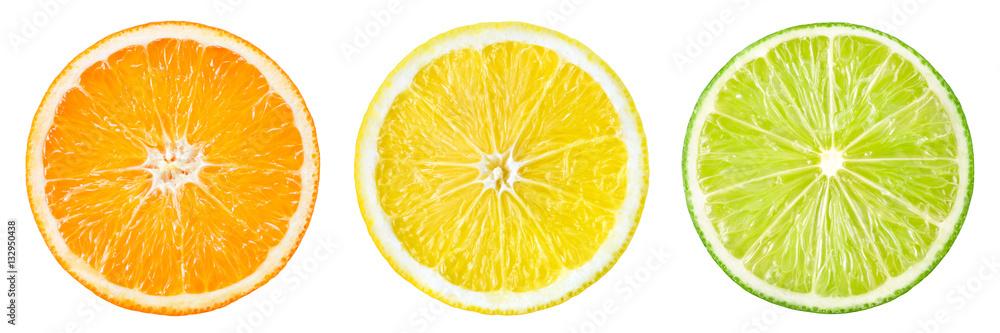 Fototapety, obrazy: Citrus fruit. Orange, lemon, lime, grapefruit. Slices isolated o