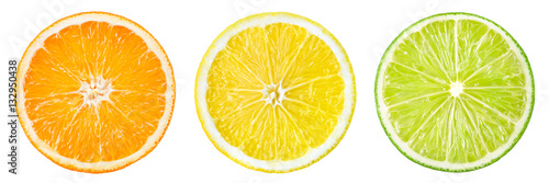 Photo Stands Fruits Citrus fruit. Orange, lemon, lime, grapefruit. Slices isolated o