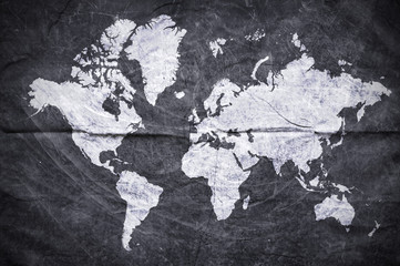 The shape of the continents on grunge background