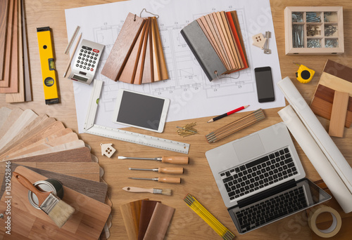 Architect and interior designer work table Wallpaper Mural