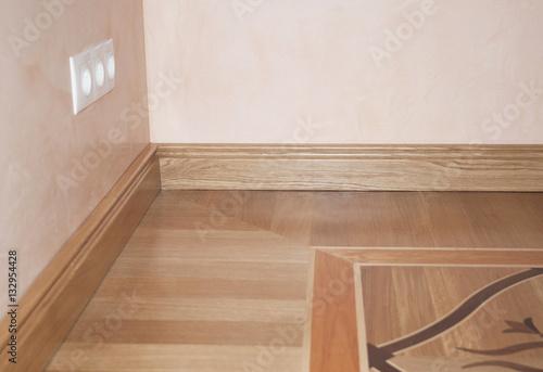 Photo Stands Stairs Wood Flooring. Skirting Board Oak Wooden Floor