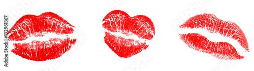 Photographie Rote Kuss Abdrücke, realistisch