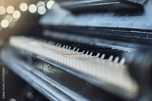 Vintage old piano. Close-up of keyboard keys Canvas Print