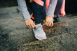 Urban winter running and outdoor fitness workout concept