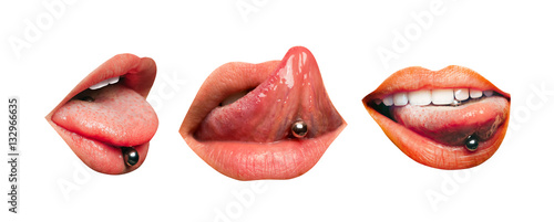 Fotografija Set of three female lips with piercing in tongue isolated on white background
