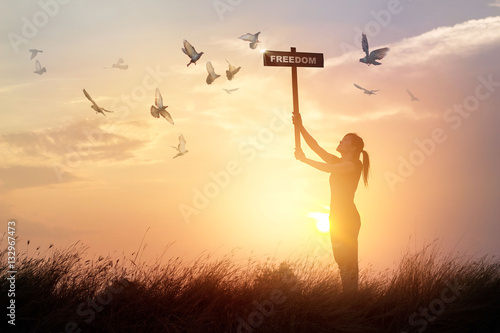 Canvas Print - Woman holds a sign with word freedom and flying birds on sunset