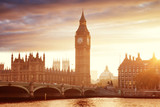 Fototapeta Londyn - Big Ben and Westminster at sunset, London, UK