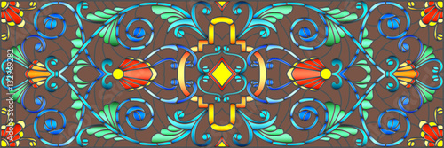 Illustration in stained glass style with abstract  swirls,flowers and leaves  on a brown background,horizontal orientation