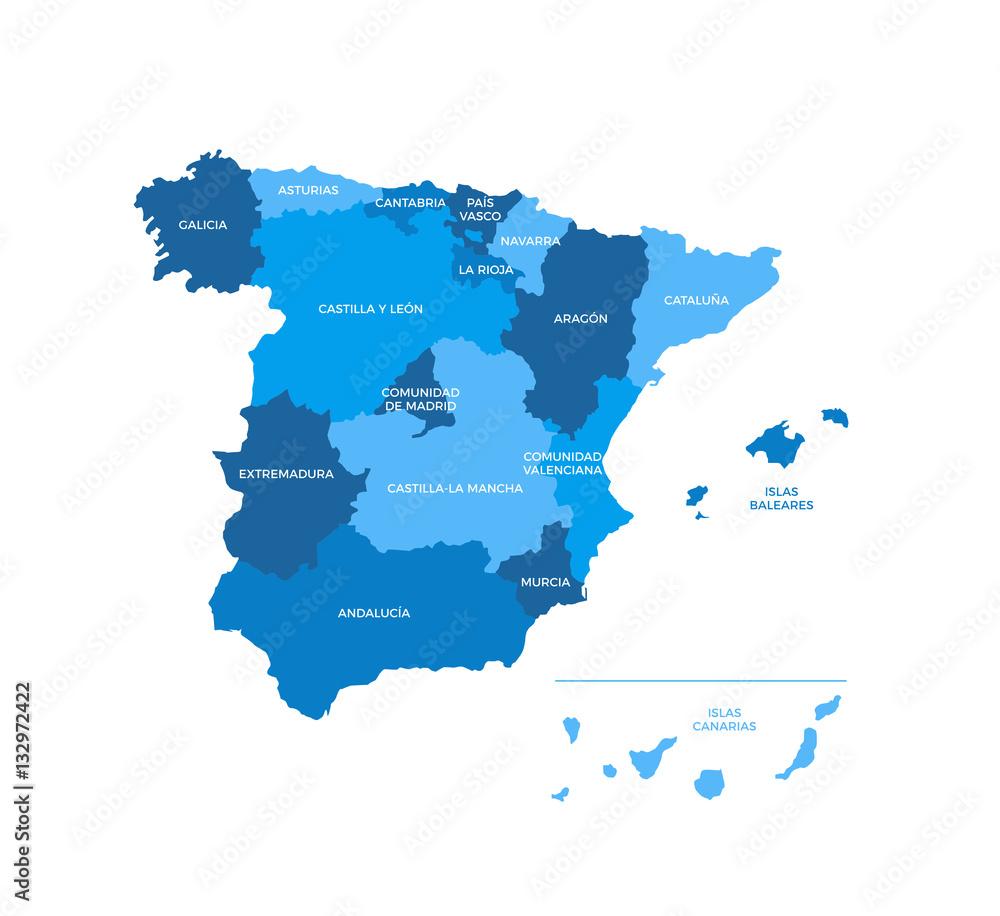 Fotografie, Obraz Spain Regions Map | Posters.cz