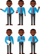 illustration of business african american people in different positions .