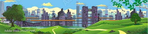 Panorama - landscape. The view from the hilltop to the metropolis of the future. Vector illustration