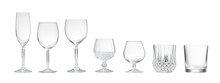 Variety Of Empty Glasses On White Background