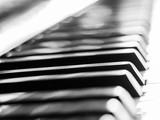 Fototapeta Do przedpokoju - Black and white tone. Abstract and closeup of piano keys