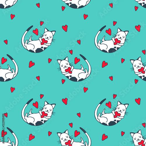 Materiał do szycia Kot słodkie dziecko, kotek z serca - wektor ilustracja. Dziecinna kawaii styl szkic z małych zwierząt. Tapety Romantyczne Walentynki