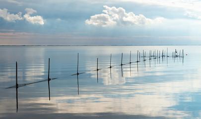FototapetaGewässer mit Fischreusen und Spiegelungen auf dem Wasser, Jütland, Dänemark