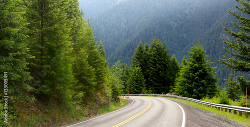 Foto op Canvas Weg in bos Scenic drive through Mount Rainier national park