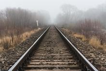 Empty Railroad Track Going Int...