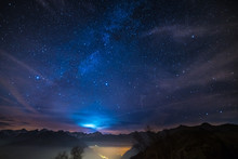 Night On The Alps Under Starry Sky And Moonlight