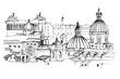 Panorama miasta Rzym. Rysunek ręcznie rysowany na białym tle.