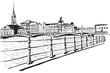 Panorama miasta Sztokholm. Rysunek ręcznie rysowany na białym tle.