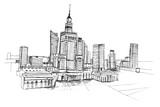 Panorama miasta Warszawa. Rysunek ręcznie rysowany na białym tle.  - 133006625