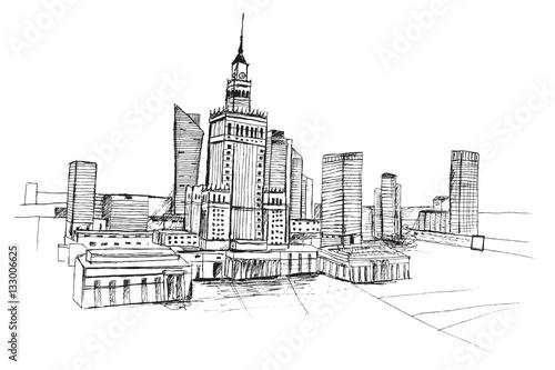 Fototapeta Panorama miasta Warszawa. Rysunek ręcznie rysowany czarnym piórkiem na białym tle.  obraz