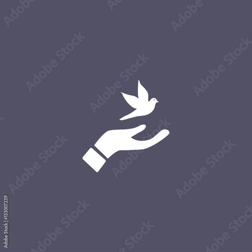 dove icon. peace sign Wall mural