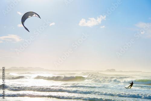 Kite surfing in the ocean