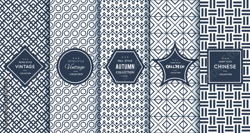 Blue line seamless patterns for universal background