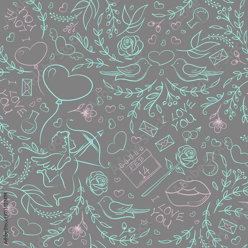 Materiał do szycia Ręcznie rysowane Walentynki wzór