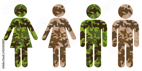 Poster Symbol of man or woman as soldier and combatant of armed force