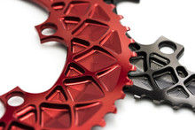 Red And Black Bicycle Chainring At White Background, Isolated