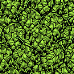 Panel Szklany Podświetlane Do gastronomi Seamless pattern with green hops