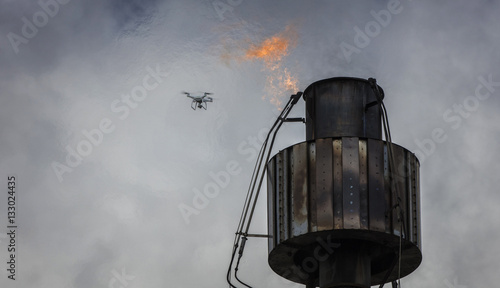 Fotografie, Obraz  Refinery or Chemical plant flare inspection using drone