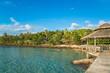 transparent sea blue sky and wooden pavilion