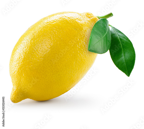 Lemon with leaves isolated on white Fototapete