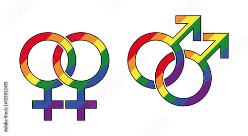 Gay Male And Lesbian Symbol With Rainbow Colors Interlocked Gender