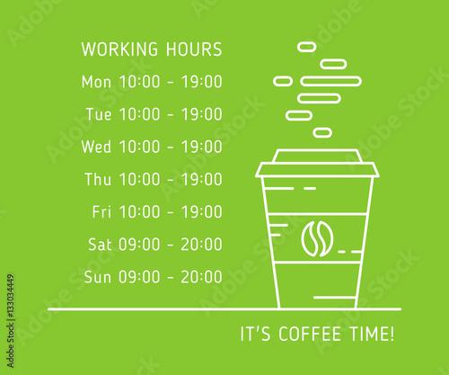 Coffee time working hours linear vector illustration on green background Billede på lærred