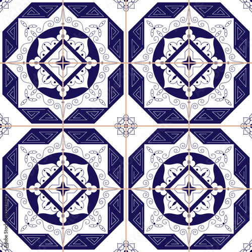 Spanish Tile Pattern From Dark Blue And White Ornaments Portuguese Azulejo Mexican Moroccan