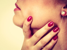 Woman Holding Her Neck, Feeling Pain
