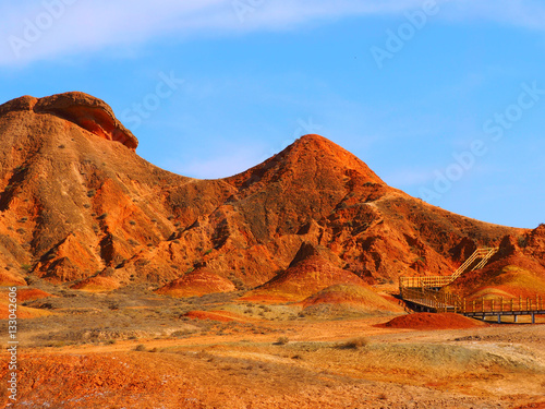 In de dag Baksteen Colorful Danxia Topography,Zhangye,Gansu,China