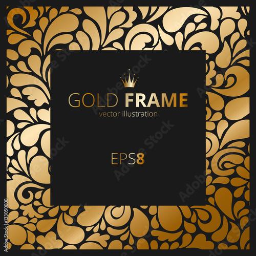Vintage Royal Gold Frame On The Dark Wallpaper Vector Illustration Victorian Ornament Can