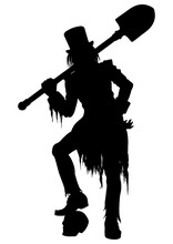 Silhouette Gravedigger With A ...
